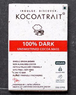 Kocoatrait Unsweetened 100% Dark Chocolate